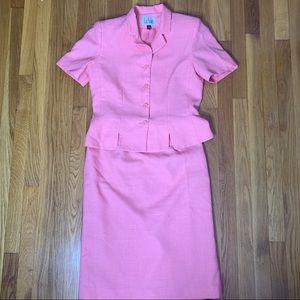 Le Suit Vintage Blazer and Skirt Set Coral Pink